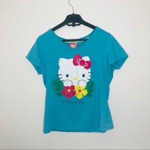 Hello Kitty Floral Blue Graphic T-Shirt Medium